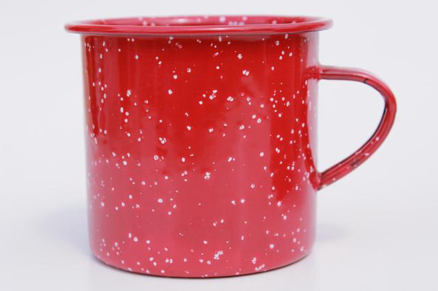 old-fashioned enamelware camp cups, red & white spatter graniteware coffee mugs