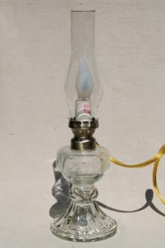 old-fashioned oil lamp antique reproduction, small glass chimney lamp wired for electricity