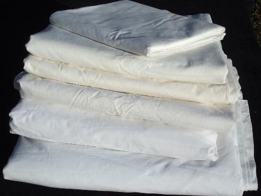 Old Fashioned Plain White Cotton Flat Bed Sheets Vintage