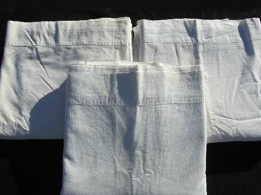 old-fashioned plain white cotton flat bed sheets, vintage linens lot