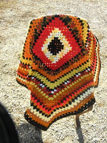 Woolen Crochet : ... granny square, cozy vintage crochet wool afghan throw blanket, retro