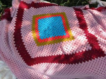 one big granny square, retro vintage crochet blanket, afghan or throw