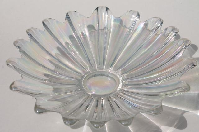 opalescent glass centerpiece bowl & pair flower float bowls, vintage Fostoria Heirloom