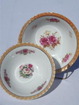 opalescent luster china w/ roses floral serving bowls, vintage Japan