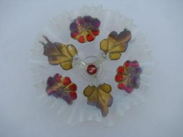 opalescent moonstone glass three legged bowl, red and gold reverse paint