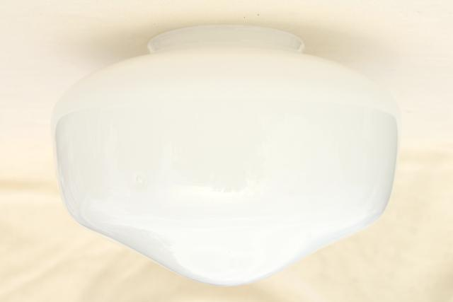 Opalescent White Glass Schoolhouse Shade Vintage