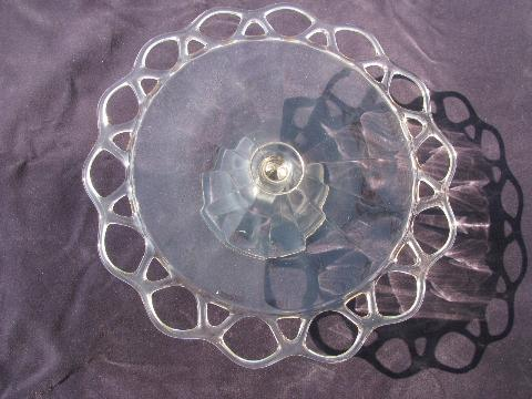 open lace edge pattern vintage Imperial Crocheted Crystal glass cake stand plate