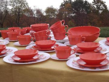 orange autumn leaf print melmac dinnerware set for 12, retro 60s vintage