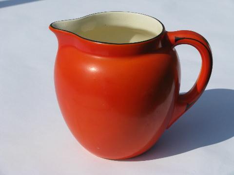 Orange W Black Band Art Deco Pottery Pitcher Vintage