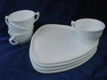 orange blossom floral white milk glass snack sets, vintage Indiana glass