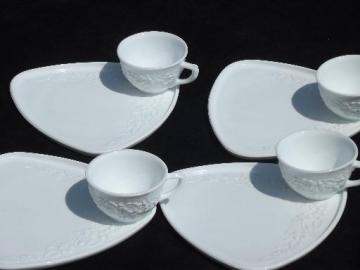 orange blossom pattern vintage snack sets, vitrock style milk glass