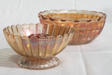 orange iridescent glass flower frog & bowls, mid-century vintage marigold carnival glassware