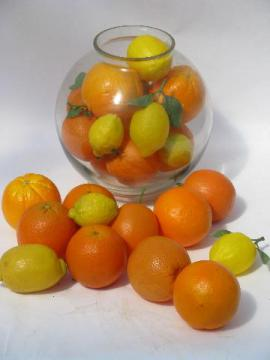 oranges and lemons, lot assorted faux fruit, artificial fruit for display