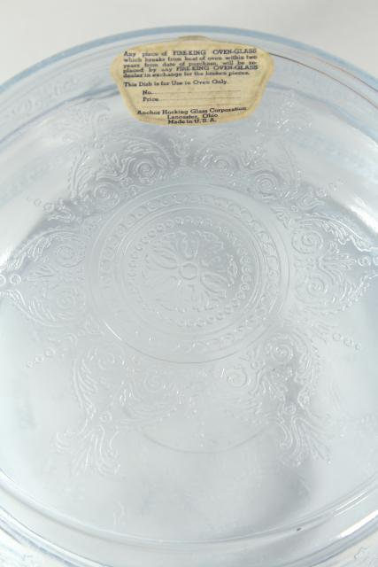 original Fire King oven glass label 1940s blue depression glass utility pan & cover
