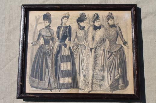 original antique framed print, Godey lady's book type 1880s dress fashion picture