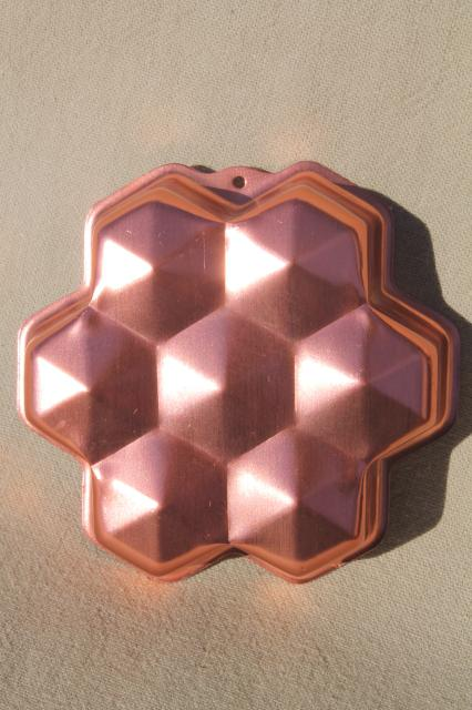 original packaging vintage pink copper aluminum cookie cutters & gem jewels shaped jello molds