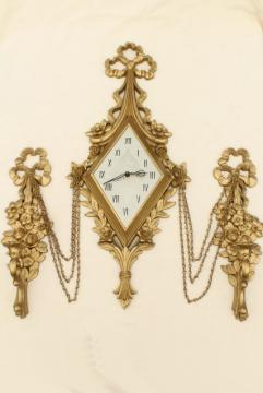 ornamental gold rococo wall art set, vintage Syroco candle sconces & clock not working