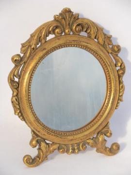 ornate Spanish mirror for boudoir vanity table, antique gold finish frame, easel stand