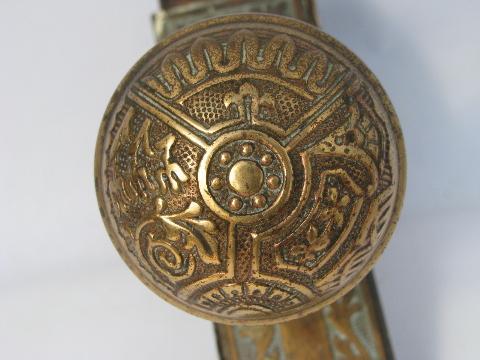 - Ornate Antique Arts And Crafts Brass Door Hardware, Doorknobs & Plates