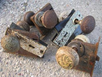 ornate antique Arts and Crafts vintage door hardware, doorknobs & plates