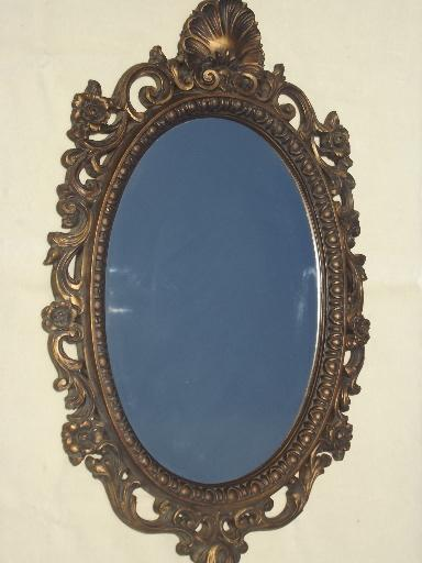 Ornate Antique Gold Plastic Framed Glass Hall Mirror 60s