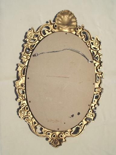 ornate antique gold plastic framed glass hall mirror, 60s 70s vintage