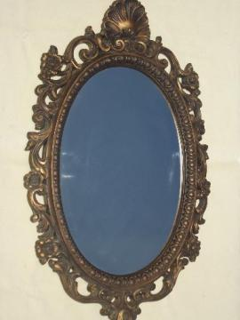 ornate antique gold plastic framed glass hall mirror, 60s 70s vintage