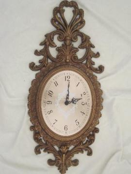 ornate antique gold rococo wall clock, Burwood plastic frame w/ New Haven clock