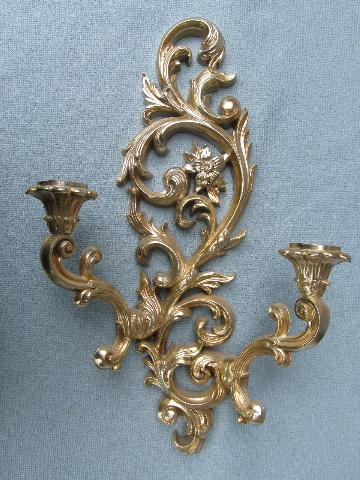 Antique Gold Candle Wall Sconces : ornate antique gold rococo wall sconces, vintage floral candle brackets