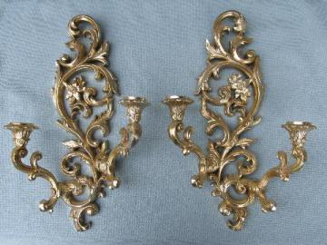 ornate antique gold rococo wall sconces, vintage floral candle brackets