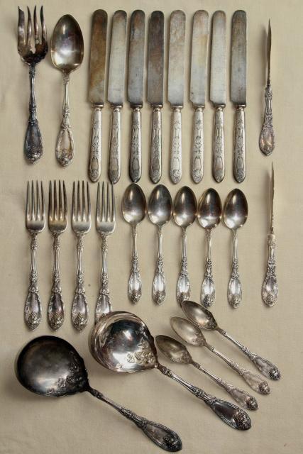 Ornate Antique Silver Plate Flatware 1910 Vintage La
