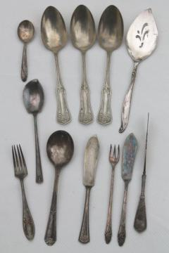 ornate antique silver plate serving pieces, vintage flatware lot mixed patterns
