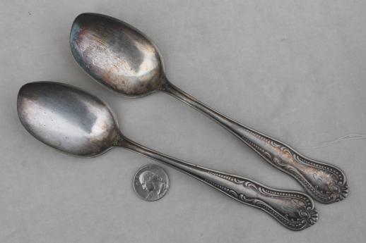 ornate antique silver plate spoons, vintage flatware lot 40 tea spoons mixed patterns