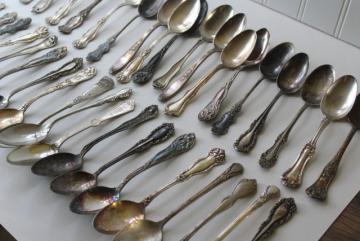 ornate antique silver plate spoons, vintage flatware lot 50 tea spoons mixed patterns