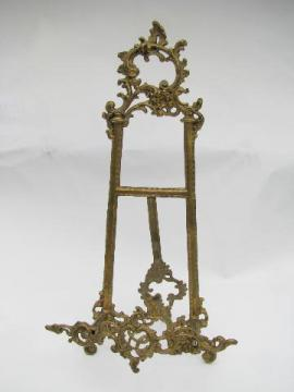 ornate brass easel sign stand / menu card holder, painting or photo display