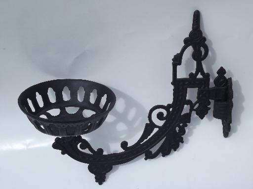 Ornate Cast Metal Oil Lamp Holder Wall Hanging Bracket