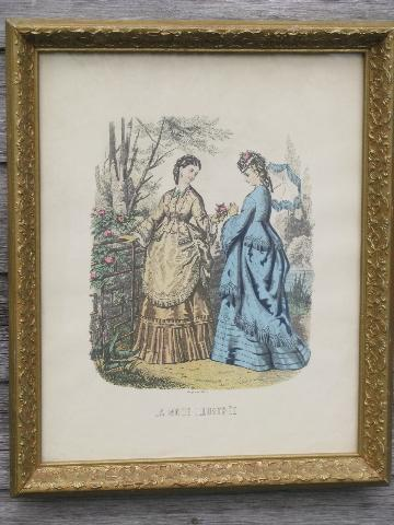 ornate framed antique french fashion print, ladies gowns godey style