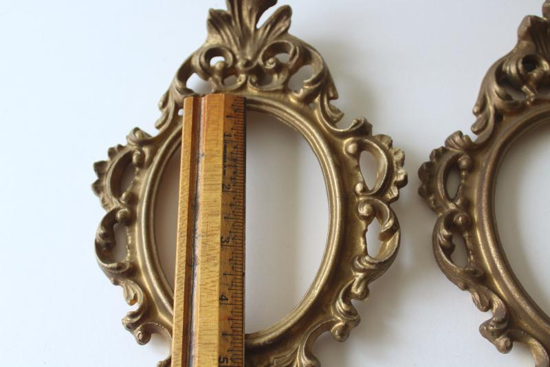 ornate french country style vintage gold plastic picture frames, trio of empty frames