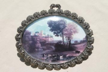 ornate gold Italian baroque frame w/ oval convex bubble glass & charming vintage pastoral print