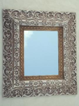 ornate gold & silver frame mirror, vintage florentine rococo or shabby french style