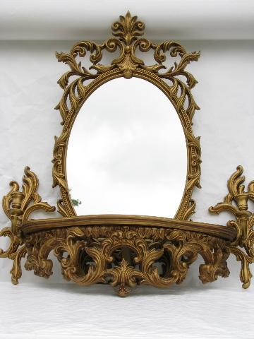 Ornate Gold Mirror Wall Sconces Bracket Shelf