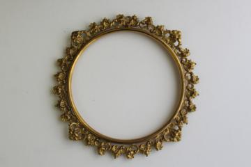 ornate gold ormolu style vintage metal frame, round picture frame, needlework or plate holder