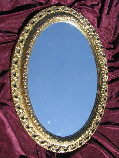 ornate gold plastic oval frame wall mirror, 60s vintage french country