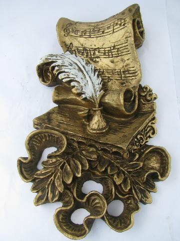 ornate gold rococo cherubs, music of love theme wall plaques, 60s vintage