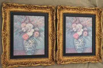 ornate gold rococo plastic picture frames w/ faded vintage floral prints