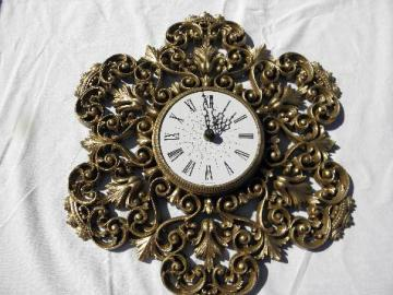 ornate gold rococo plastic wall clock, vintage Burwood