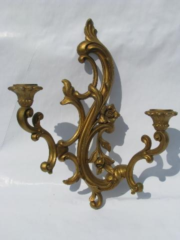 French Country Wall Sconces For Candles : ornate gold rococo plastic wall sconces for candles, 60s vintage french country