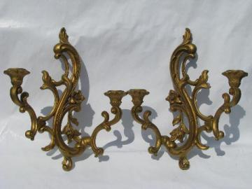 ornate gold rococo plastic wall sconces for candles, 60s vintage french country