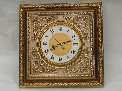 ornate gold rococo square frame wall clock, 1960s vintage Syroco
