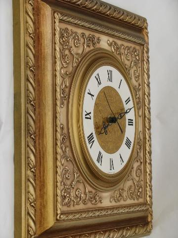 Ornate Gold Rococo Square Frame Wall Clock 1960s Vintage